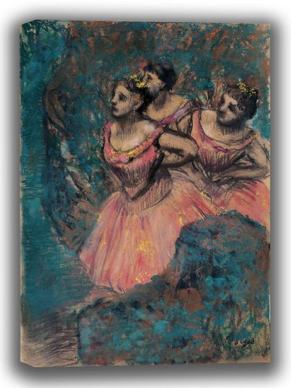 Degas, Edgar: Three Dancers in Red Costume. Fine Art Canvas. Sizes: A4/A3/A2/A1 (003772)